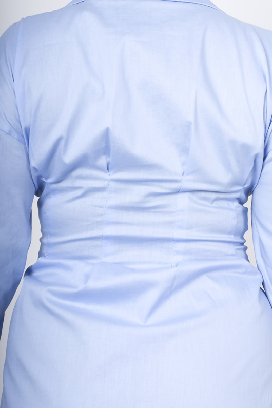 Blue corset detail shirt dress