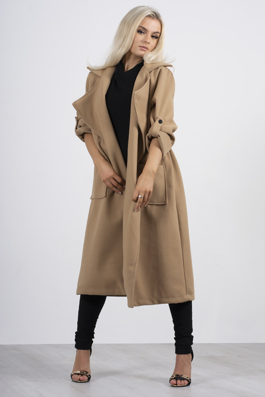 Camel tie waist pocket detail trench coat