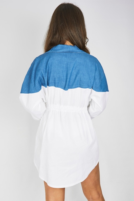 White Denim Contrast Tie Waist Shirt Dress
