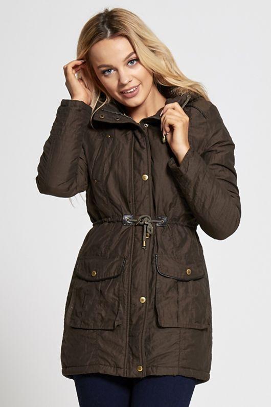 Khaki Fur Lined Hood Brave Soul Parka Coat