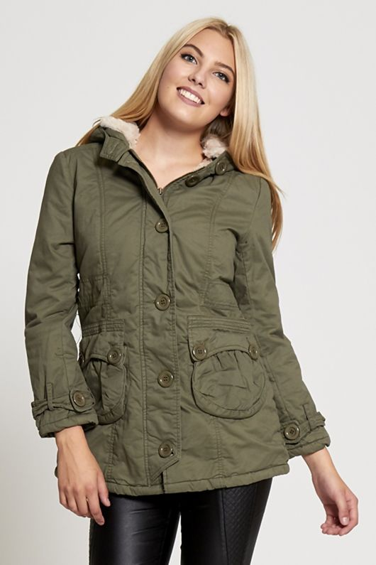 Khaki Over Sized Button Parka Coat
