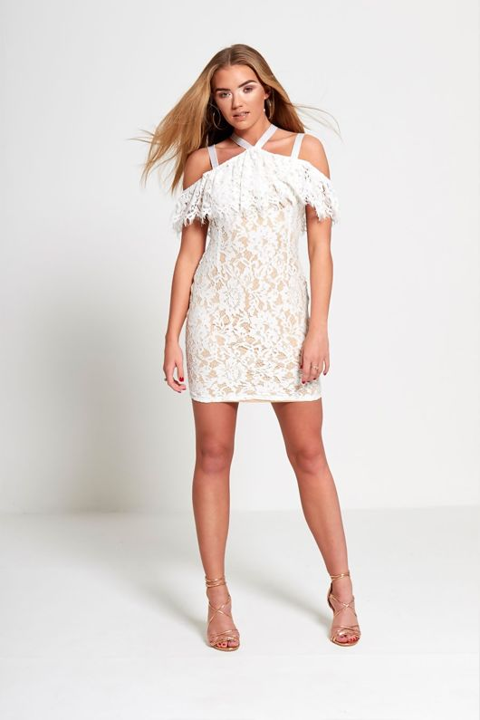 Nude Cold Shoulder Underlay Fray Mini Dress