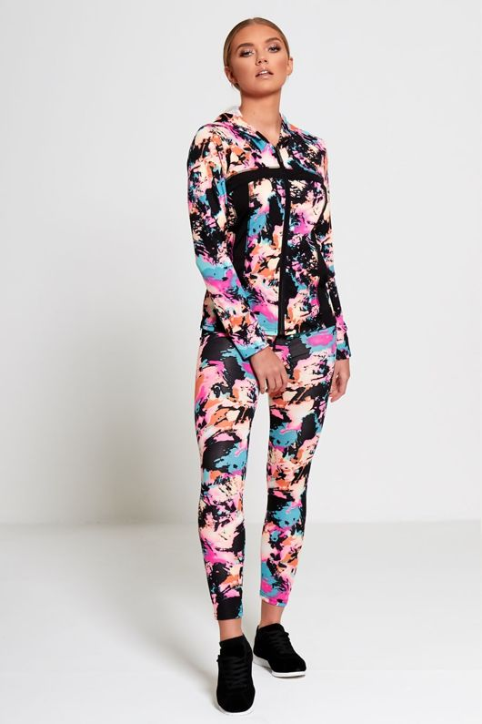 Multi Colour Bleached Effect Activewear Jacket