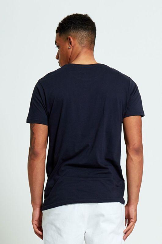 Navy Feather Print Polo Shirt