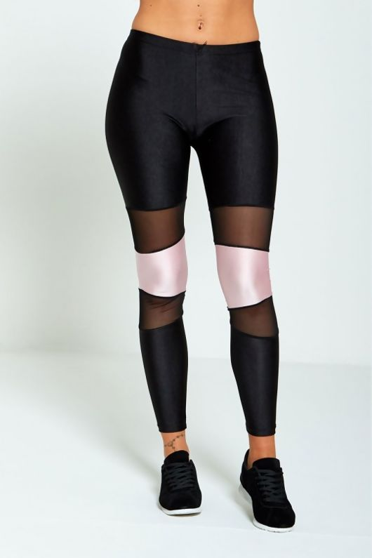 Pink Contrasting Panel Mesh Detail Activewear Leggings