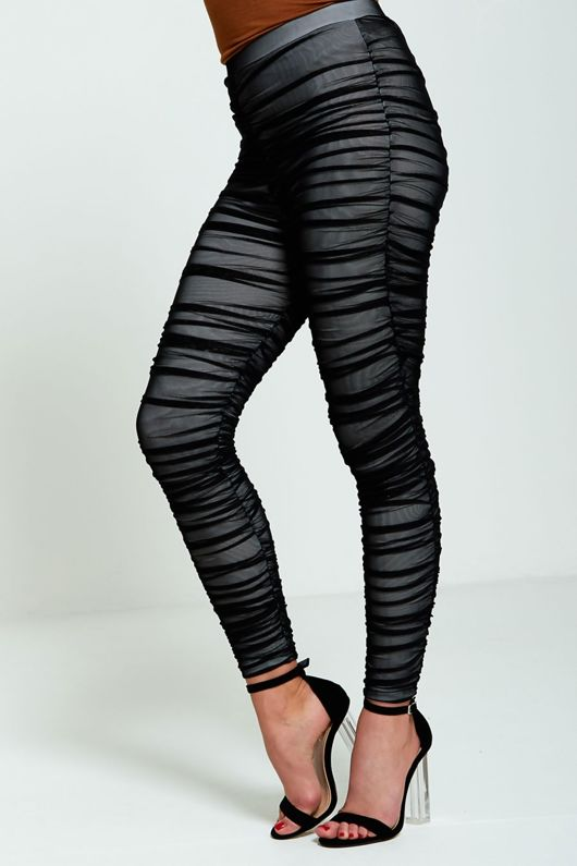 Black Mesh Ruched Leggings