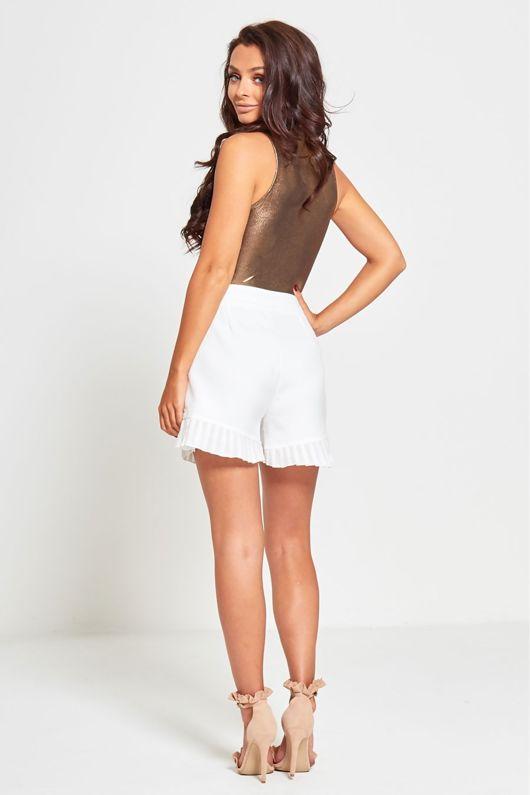 White High Waist Diamante Detail Frill Hem Shorts