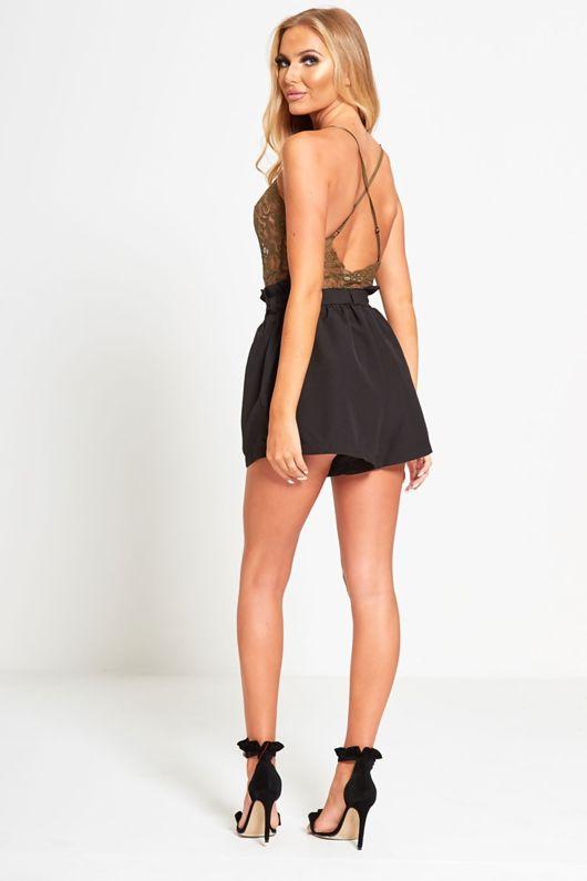Black Ruffle High Waist Shorts