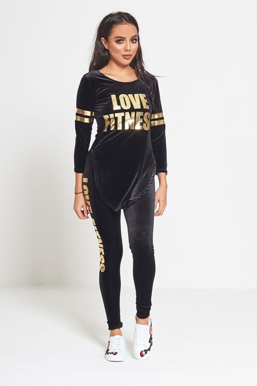 Black Love Fitness Velour Top