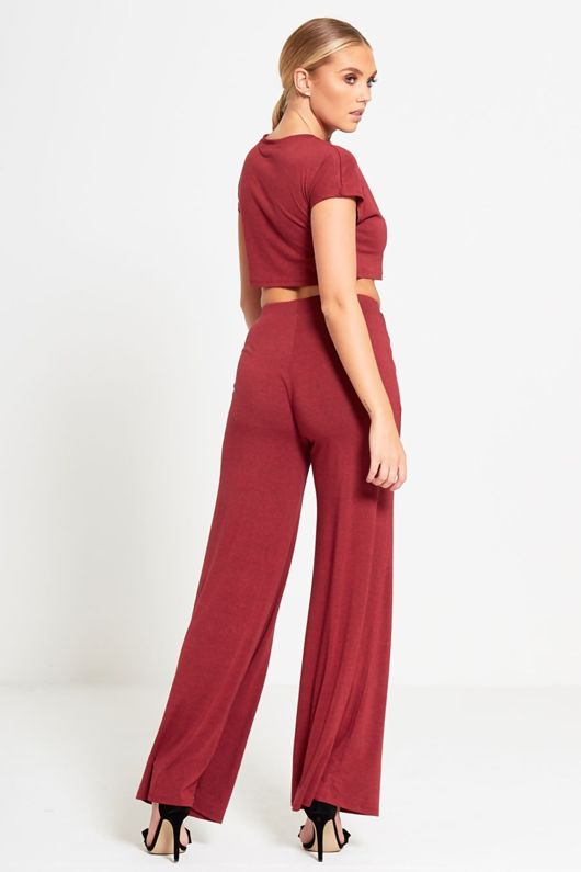 Wine Crop Top And Wide Leg Trouser Co-ord Set