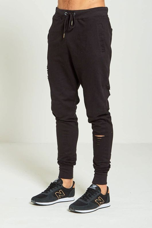 Black Mens Ripped Knee Jogging Bottoms