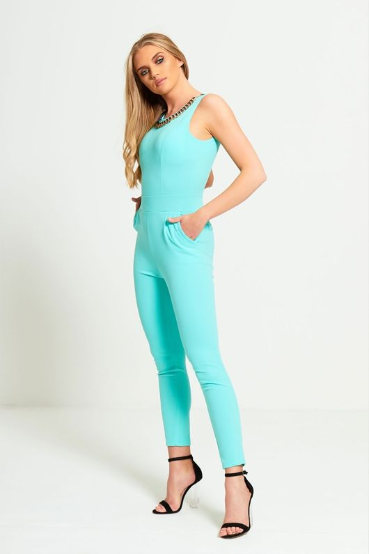 Mint Gold Chain Jumpsuit