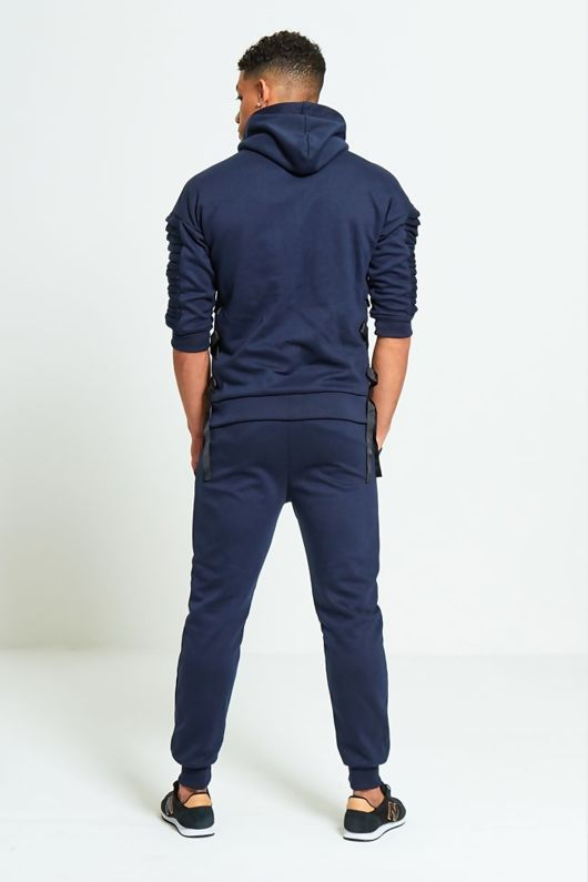 Navy 3/4 Sleeve Ribbed Detail Tracksuit
