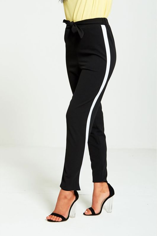 Black Tapered White Panel Trousers