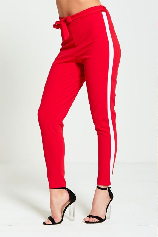 Red Tapered White Panel Trousers