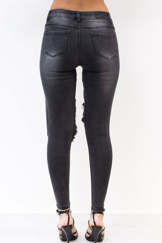 Mid Rise Extreme Cut Out Charcoal Denim Skinny Jeans