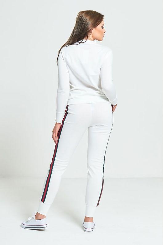 White Striped Loungewear Sweatshirt