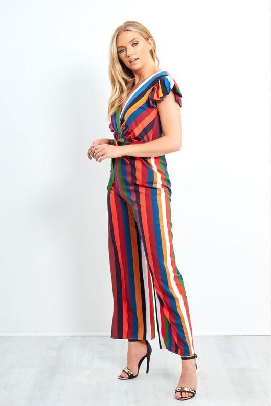 Multicolourred Striped Frill Shoulder Jumpsuit