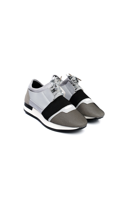 Black And Grey Lace Up Mesh Trainers