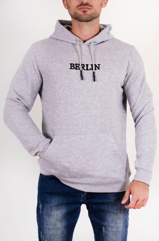 Mens Grey Berlin Slogan Hoodie