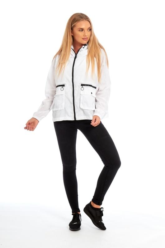 White Crop Cagoule Jacket