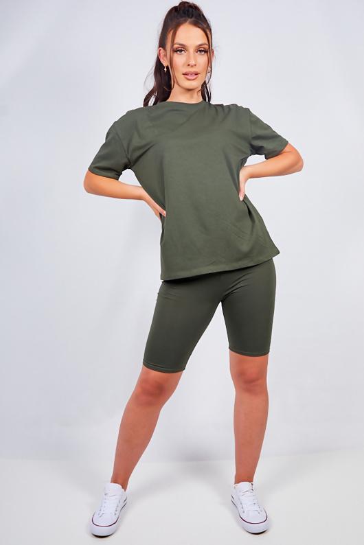 Khaki Oversized T-shirt And Cycling Shorts Lounge Set