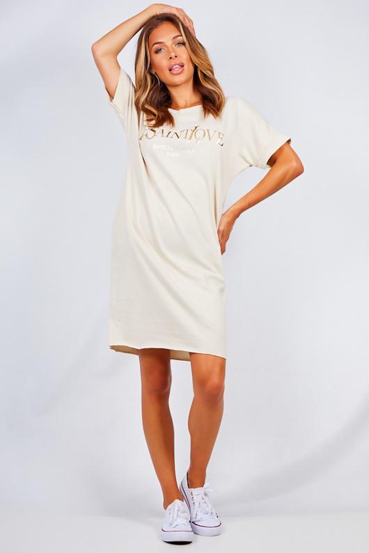 Beige Oversized Ye Saint Slogan Tee Dress