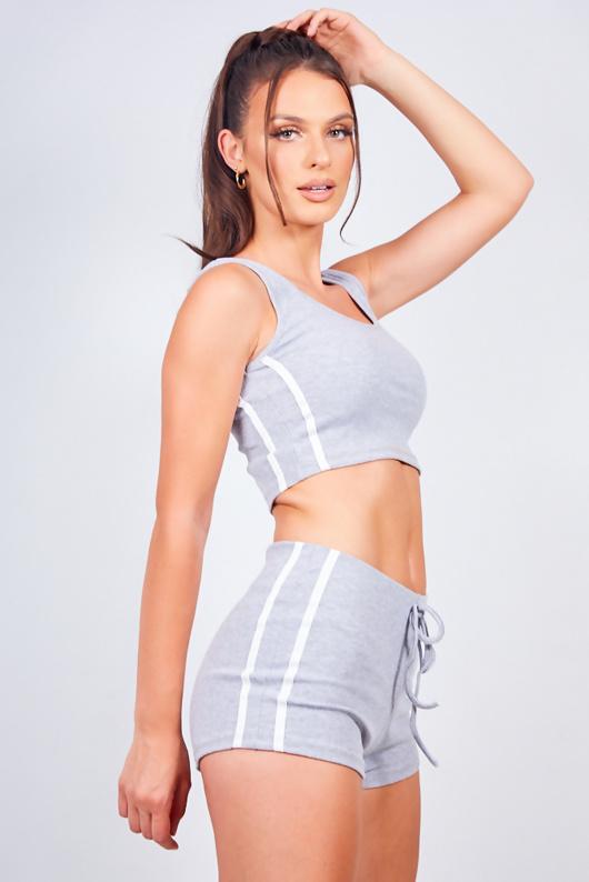 Grey Side Stripe Ribbed Crop Top And Shorts Loungewear Set