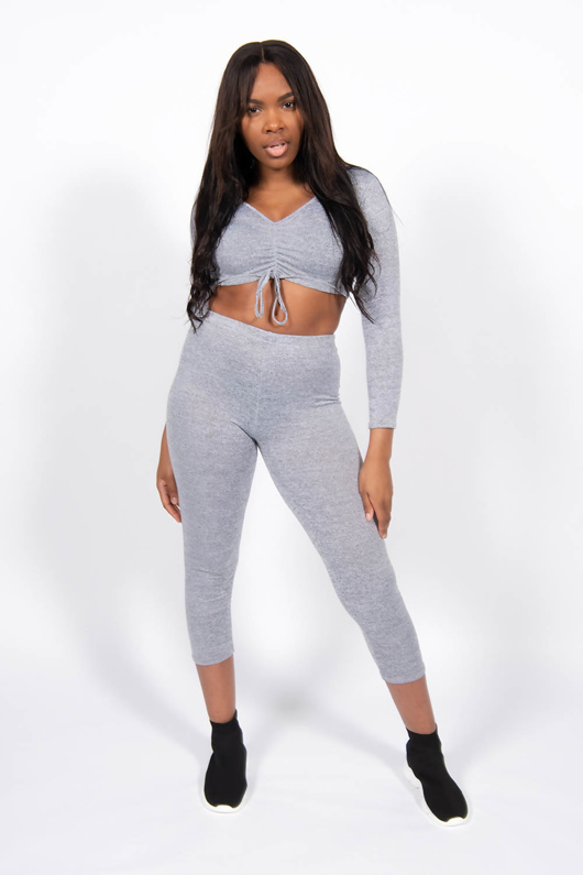 Grey Marl Front Knot Crop Top And Joggers Set