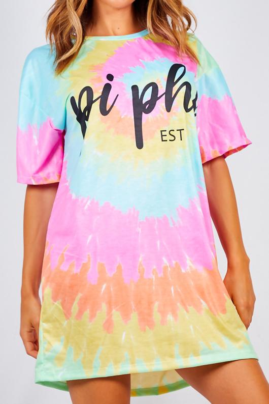 Pink Tie Dye Oversized Pi Phi Slogan Tee Dress