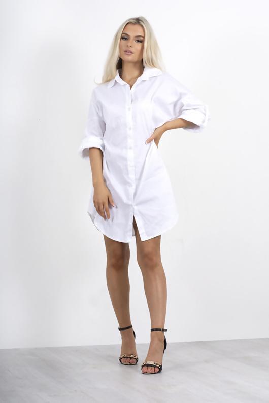 White Rolled Sleeve Shirt Dress