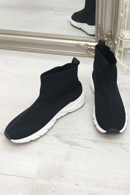 Black Knitted Sock Trainers