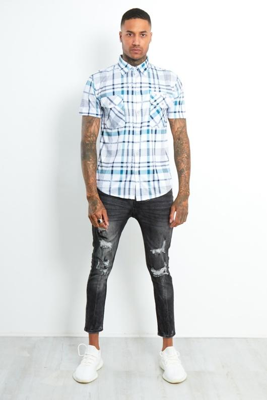 6501-Mens Blue Short Sleeve Plaid Shirt
