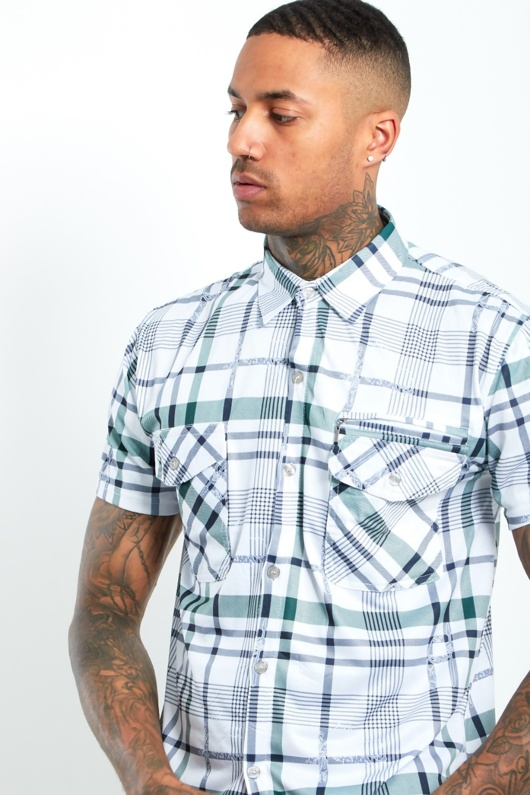 6501-Mens Green Short Sleeve Plaid Shirt