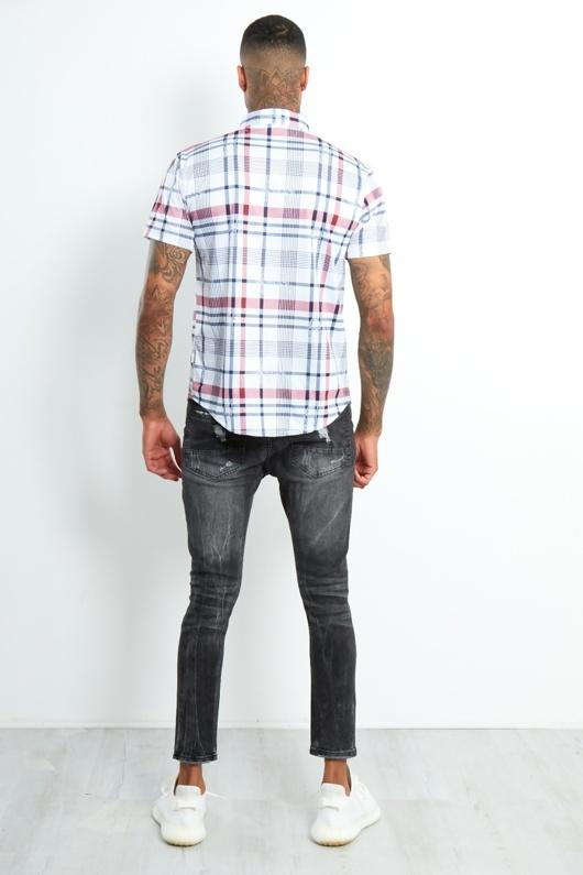 6501-Mens Red Short Sleeve Plaid Shirt