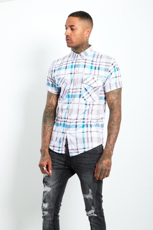 6501-Mens Turquoise Short Sleeve Plaid Shirt