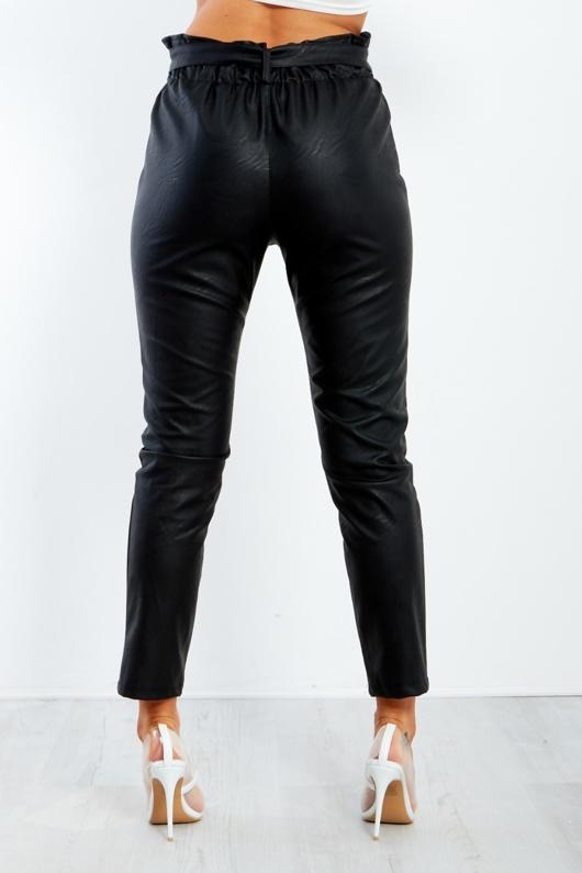 6507-Black Pu Paperbag Waist Tapered Trouser