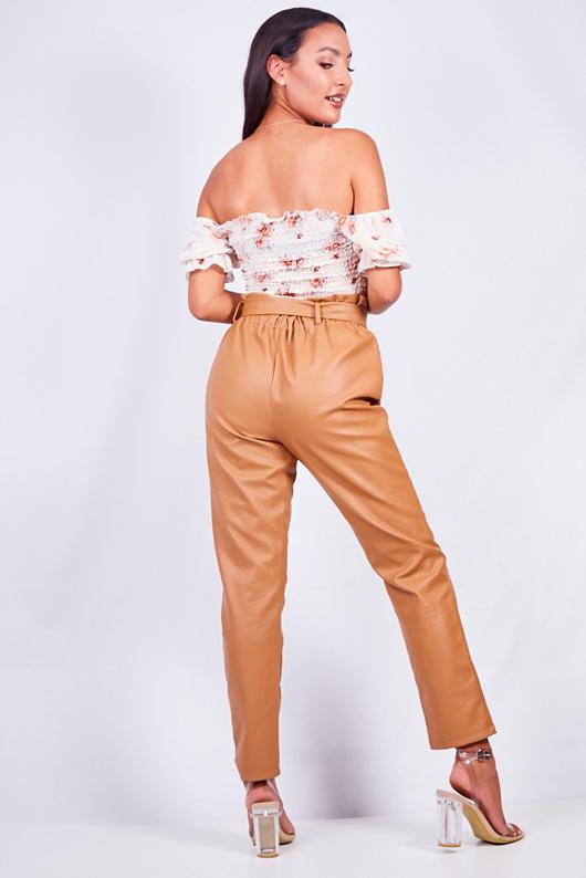 Tan Pu Paperbag Waist Tapered Trouser