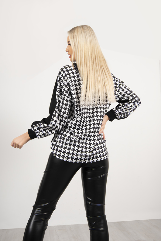Black And White Dogtooth Hoodie