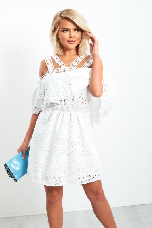 White Multi Strap Off Shoulder Broderie Detail Mini Dress