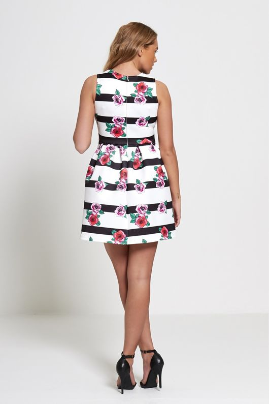 White Striped Floral Skater Barbie Dress-Copy