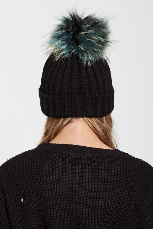 Green Fur Pom Pom Beanie Hat