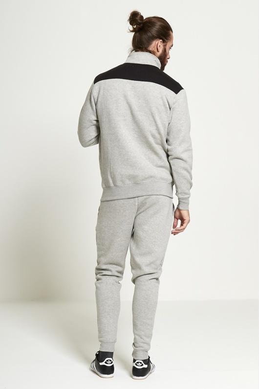 Mens Grey Zip Through Collar Contrasting Panel Tracksuit