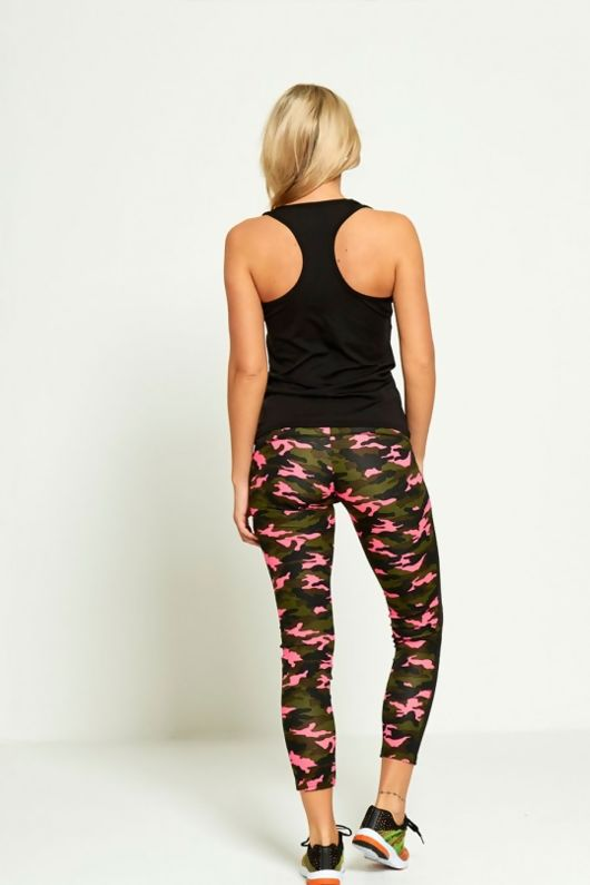Pink Camouflage Panel Active Wear Vest Top