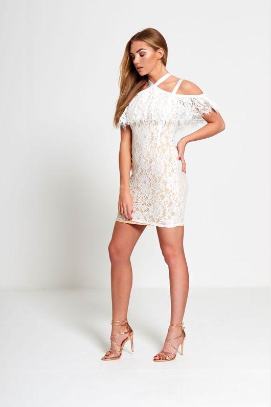 Nude Cold Shoulder Underlay Fray Mini Dress
