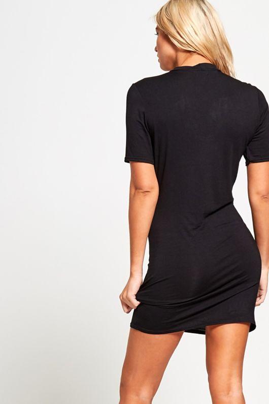 Black Rose Print Choker Mini Dress