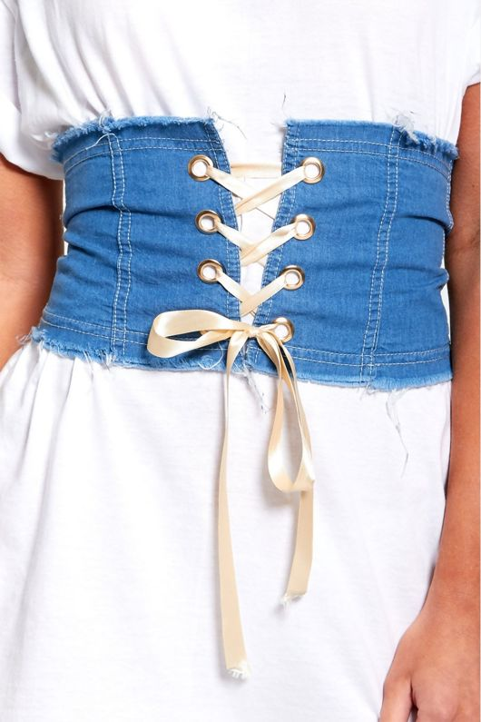 Gold Ribbon Fray Denim Corset Belt