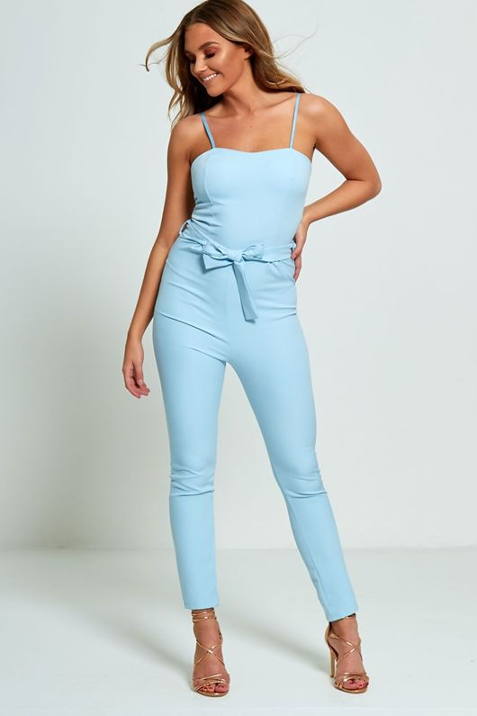 Blue Strappy Bow Tie Jumpsuit