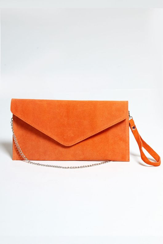Orange Suede Envelope Clutch Bag