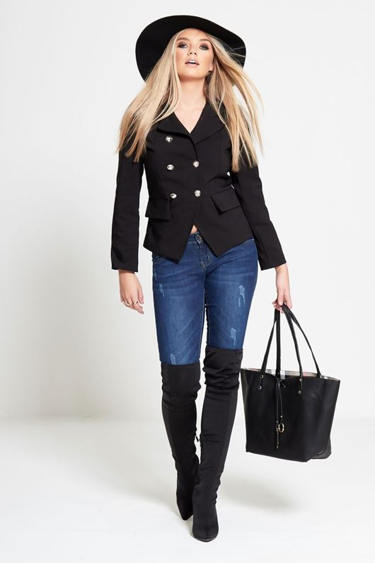 Black Military Style Fitted Blazer Jacket